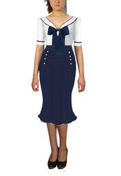 Hell Bunny Vintage Sailor Navy Ambleside Midi Crepe Swing Dress ...