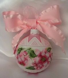Hand-Painted-Christmas-Ornament-Cottage-Chic-Red-Poinsettias-Shabby-Lace-HP
