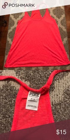 "Victoria Secret ""Pink"" razor back tank Medium, coral color PINK Victoria's Secret Tops Tank Tops"