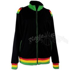 This men's black track jacket is accented with Rasta colors around the cuffs, waist and shoulders. The collar, zipper and two front pockets are trimmed in green. The inside is lined with fleece. Made of 100��0cotton.