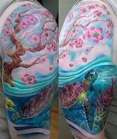 Cherry Blossoms and Sea Turtle Tattoo - Javier Eastman http://tattoosflower.com/cherry-blossoms-and-sea-turtle-tattoo-javier-eastman/