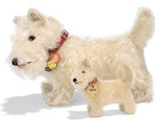 TWO STEIFF STANDING SEALYHAMS, (1317,0 and 1308,0), white mohair, brown and black glass eyes, black stitching, swivel head, larger with inoperative squeaker, red collars with card tag, larger with bell and FF button, 1930s --10in. (25.5cm.) and 4in. (10cm.) long Dog Items, Scottie Dog, Antique Toys, Old Toys, Card Tags, Fabric Dolls, White Terrier, Best Dogs, Bears