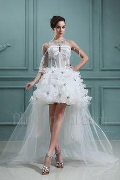 Organza Jewel Ball Gown Asymmetrical Wedding Dress - Alice Bridal