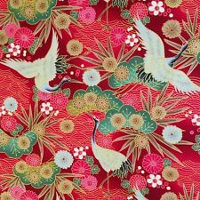 Japanese cotton fabric printed with cranes on a floral background in deep red tones. Birds are approx long. View Our Categories. Japanese Crane, Japanese Flowers, Japanese Cotton, Japanese Fabric, Japanese Kimono, Japanese Patterns, Japanese Prints, Japanese Design, Peacock Fabric