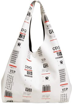 Maison Margiela Tags Printed Leather Tote Bag