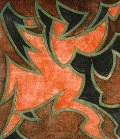 The Mummer by Cyril Power, 1931. Linocut printed from 3 blocks: emerald green; chrome orange and viridian. Signed, titled and numbered from the edition of 50