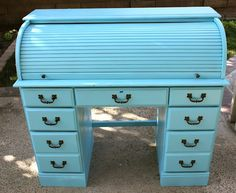 Blue roll top desk...consider this done, but in hot pink for Mags. Thanks to a great neighbor and a great garage sale.