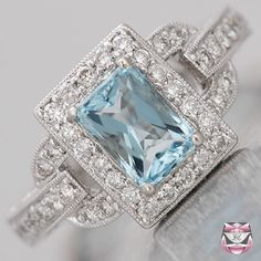 vintage aquamarine and diamond