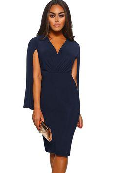9e2670a12fa Blue Manhattan Moment Cape Wrap Front Midi Dress  25.53 USD