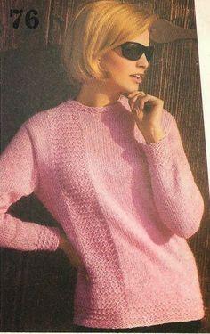 Vintage knitting free patterns, gratis breipatronen onder andere jaren 70 patronen: Nog een mooie damestrui met breipatroon