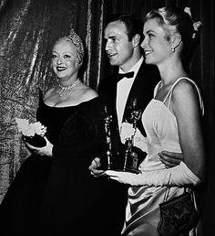 Bette Davis, Marlon Brando and Grace Kelly, Academy Awards, 1955
