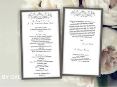 Printable Wedding ceremony 2 sided program template Gray by Oxee, $5.00