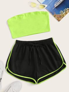 Shop Neon Lime Bandeau Top & Track Shorts Set at ROMWE, discover more fashion styles online. Cute Lazy Outfits, Crop Top Outfits, Sporty Outfits, Swag Outfits, Stylish Outfits, Girls Fashion Clothes, Teen Fashion Outfits, Outfits For Teens, Preteen Fashion