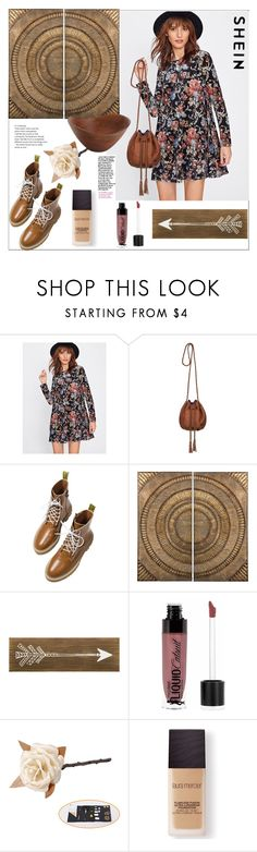 """Shein.Flower Print Swing Velvet Dress"" by natalyapril1976 ❤ liked on Polyvore featuring Roxy, Lazy Susan, Wet n Wild, Laura Mercier and Pier 1 Imports"