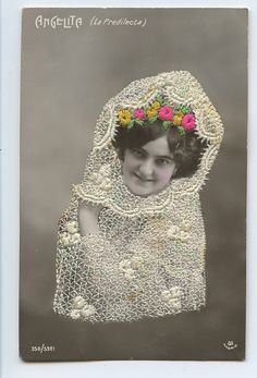 Angelita Embroidered Silk Photo Dancer Spain Glamour Lady 1910s Postcard