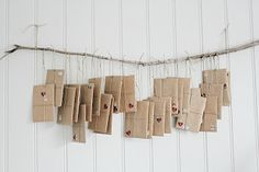 advent - pretty kraft packaging with twine and hearts