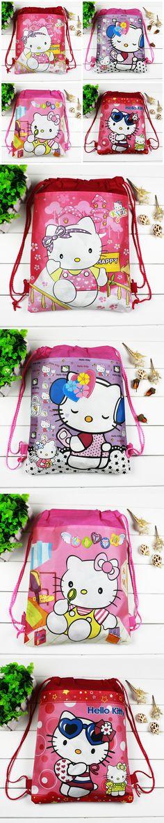 4pcs/lot Hello Kitty Cartoon Drawstring Children school bags,Kids Birthday Party Favor,Mochila escolar,School Kids backpack