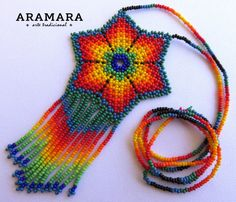 Mexican Huichol Beaded Orange Flower Necklace by Aramara Beaded Jewelry Designs, Seed Bead Jewelry, Seed Beads, Beaded Purses, Beaded Bracelets, Beaded Necklace, Crochet Feather, Mexican Jewelry, Native American Beadwork
