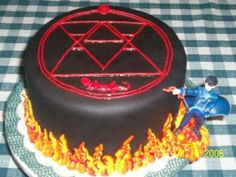 Fullmetal Alchemist - Roy Mustang (Flame Alchemist) cake This would be cool complete with the action figure. Mustang Cake, Roy Mustang, Colonel Mustang, Anime Cake, My Birthday Cake, Fullmetal Alchemist Brotherhood, Looks Yummy, Cute Cakes, Manga