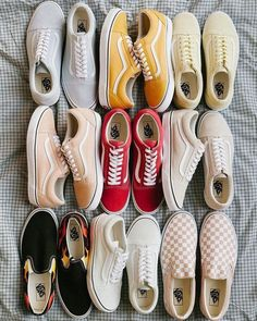 1eb299c3042 Red vans - pink vans - salmon vans - flame vans - grey vans - yellow vans - tan  vans - checkered pink vans - old skool Vans - sneaker inspo