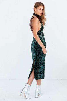 Ecote Bellatrix Floral Green Velvet Bodycon Midi Dress