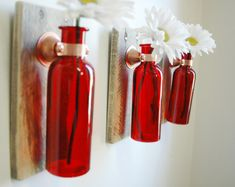 Wall Decor Colored Glass Bottle Trio each mounted on Recycled wood for unique rustic wall decor bedroom decor kitchen decor on Etsy, $42.00