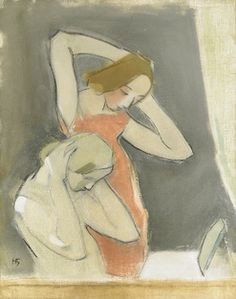 """huariqueje: """" In front of the Mirror - Helene Schjerfbeck 1937 Finnish Oil on canvas. 85 x 69 cm """" Helene Schjerfbeck, Helsinki, Figure Painting, Painting & Drawing, Scandinavian Art, People Art, Portrait Art, Figurative Art, Painting Inspiration"""