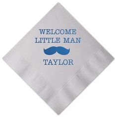 Welcome Little Man Mustache Personalized Baby Shower Napkins -   - Pink Poppy…