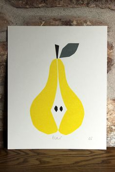 Scandinavian style Pear Linocut print by WorkOnPaperStudio on Etsy, modern pear print