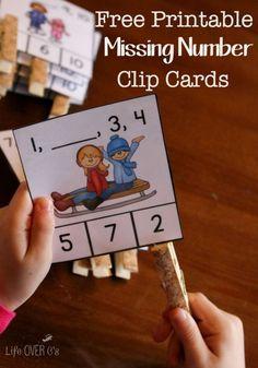FREE winter missing number clip cards for kindergarten. Hands-on way to work on number order for kids this winter season! Kindergarten Centers, Preschool Math, Kindergarten Classroom, Fun Math, Teaching Math, Math Activities, Math Games, Math Math, Number Games For Kindergarten
