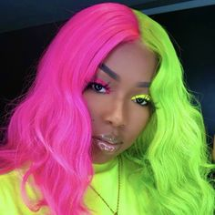 Peruvian Hair Half Fuchsia And Half Green Color Straight Lace Front Bob Wig Half And Half Hair Color Bob COLOR Front Fuchsia Green hair Lace Peruvian Straight Wig Two Color Hair, Hair Dye Colors, Cool Hair Color, Red Color, Half Colored Hair, Half And Half Hair, Neon Green Hair, Pink Hair, Lux Hair