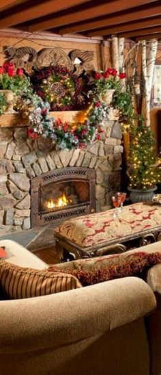 Christmas mantle.  Love the stone fireplace.
