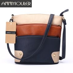 Best Offer $13.85, Buy Annmouler Women Patchwork Shoulder Bag 4 Colors Crossbody Bag Tote Bag Three Zipper Messenger Bag High Quality Bolsos Mujer