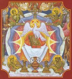Religious Icons, Religious Art, Day Of Pentecost, Catholic Bible, Christian Pictures, Saint Esprit, Byzantine Icons, Medieval Art, Orthodox Icons