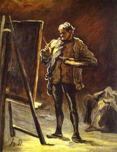 Artist in front of His Canvas - : Canvas Art, Oil Painting Reproduction, Art Commission, Pop Art, Canvas Painting Peter Paul Rubens, Hand Painting Art, Online Painting, Honore Daumier, Clark Art, Social Art, Free Art Prints, Oil Painting Reproductions, French Art