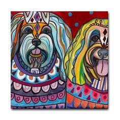 Havanese dog coasters Ceramic Tile Modern by HeatherGallerArt, $20.00