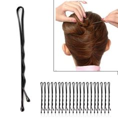 60pcs Fashion Black Women's Bobby Pins Invisible Wave Hair Grips Salon Barrette Hairpin Hair Clips Ladies' Barrette
