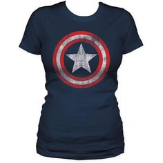 Captain America Shield Womens S/S T-Shirt in Navy (26 CAD) ❤ liked on Polyvore featuring tops, t-shirts, shirts, women, blue tee, navy t shirt, navy blue top, blue top and shirt tops