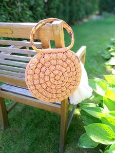Chrochet round bag Bubble round chrochet bag Crochet smail bag Boho sack Chrochet summer bag Macrame bag Bubble round bag