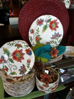 Elizabeth Dinnerware and Spice Flower Napkin Rings from Pier 1