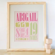 Baby Print Birth Announcment Art Birth Announcement by trendypeas