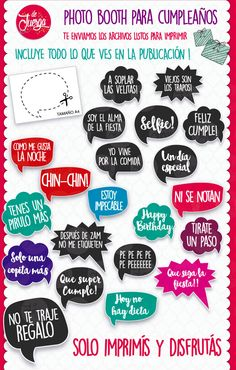 Photo Booth Cumpleaños Imprimible 20 Frases Props - $ 16,50 en Mercado Libre