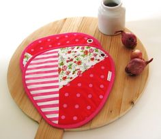 colorful kitchen pink patchwork pair of potholders