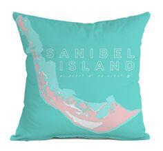 Sanibel Island Indoor/Outdoor Decorative Throw Pillow, Pink & Aqua