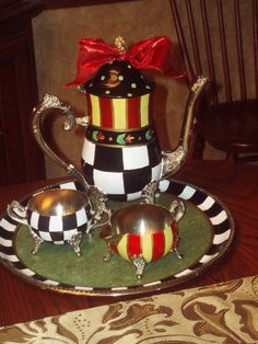 Hand Painted Silver Tea Set by paintingbymichele on Etsy, $125.00