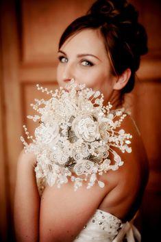Silver beaded Bouquet  OLIVIA  bridal by hairbowswonderworld