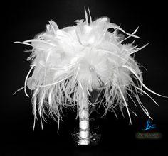 Bouquet white feather bouquets bridal unique bride feather flowers. $195.00, via Etsy.