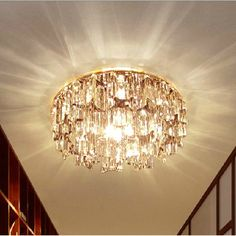 Fancy  Modern Small Crystal Living Room Corridor Ceiling Lights Bedroom Semi Flush Mounted Crystal Ceiling Lamp