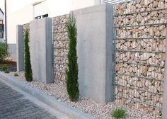 Gabionen und Beton // Sichtschutz