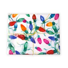 "#watercolor #holiday ""Merry and Bright"" Christmas lights wrapping paper - Shana Frase"